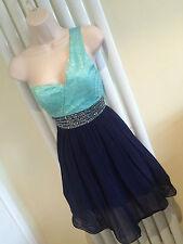 LITTLE MISTRESS Stunning Aqua Blue Navy Chiffon Skater Dress Size 10 NEW