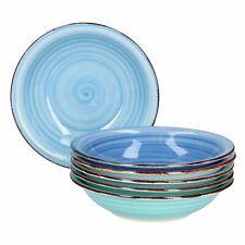 6-tlg. Suppentellerset Blue Baita 750 ml Essteller tief Servierschale Blau-Töne