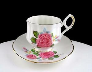 ROYAL-DOVER-ENGLAND-PINK-ROSE-GOLD-RIM-2-3-4-034-FOOTED-CUP-AND-SAUCER-SET