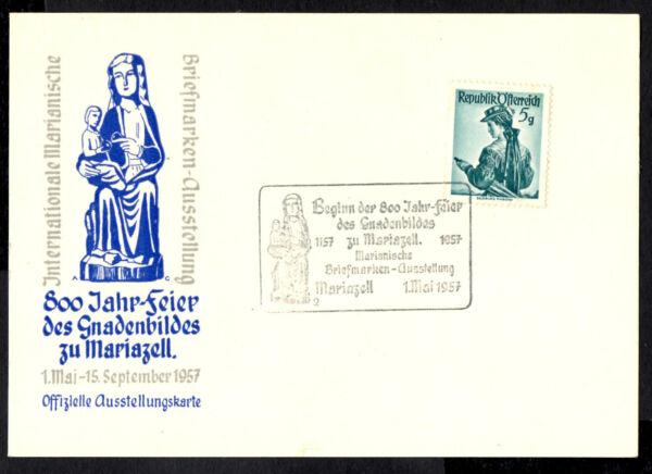 (ref-7903) Autriche 1957 800 Jahre Gnadenbild Mariazell Carte Avec Sg.1109 Apparence Brillante Et Translucide