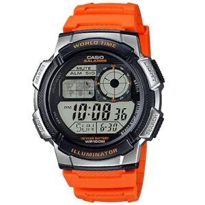 Casio-AE-1000W-4B-Youth-Series-Silver-Orange-World-Time-Digital-Sports-Watch