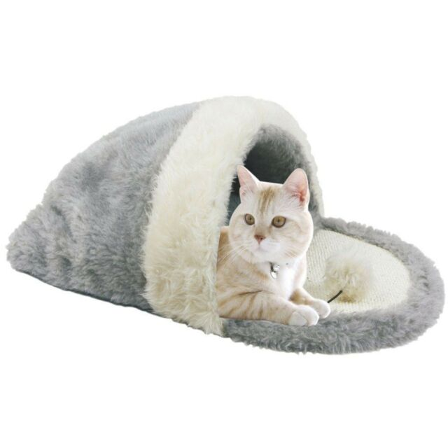 Pet Cat Sleeping Bed Cushion Mat Slipper Design Cat Warm Soft Kennel Cushion Bed