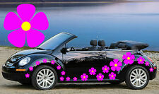 32 Pink Pansy Car Stickers With Yellow Centers,Car Decal Flower,Graphics,Beetle