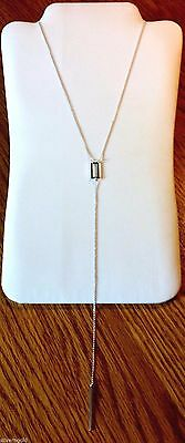 Long Y Shaped Necklace-Solid Sterling Silver 925-Lariat Look-Geometric-Bar Drop