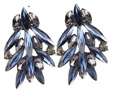 Wholesale Jewelry Blue Crystal Rhinestone Ear Drop Dangle Stud Earrings 07