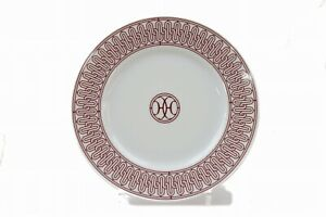 Hermes Plate H.DECO White X Red 22.5cm 304659