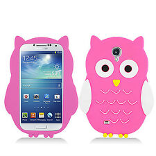 Samsung Galaxy S4 S IV Rubber SILICONE Skin Soft Gel Case Phone Cover Pink Owl