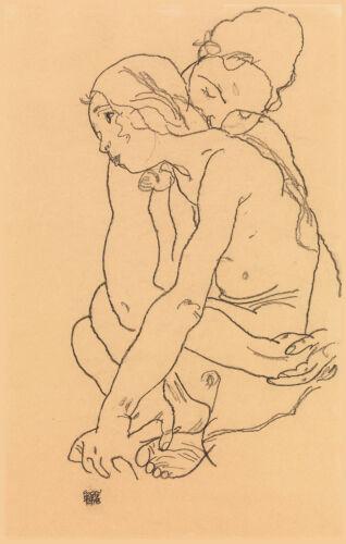 Fine Art Print Two Women Embracing Egon Schiele Drawing Reproductions