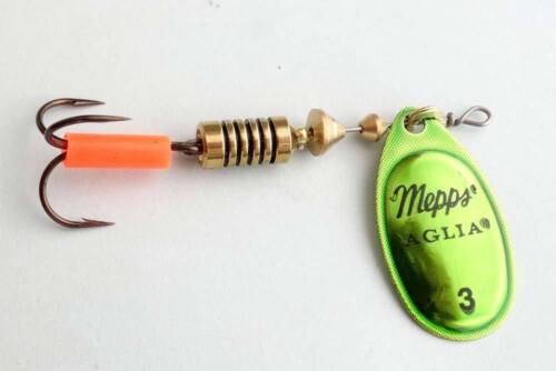1 x leurre MEPPS cuillere AGLIA PLATIUM VERT OR lure spinner trout perch truite