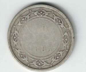 NEWFOUNDLAND-1885-50-CENTS-QUEEN-VICTORIA-CANADIAN-STERLING-SILVER-COIN
