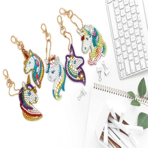 5PC Unicorn Diamond Painting Key Chains Pendant DIY Art Resin Key Rings Keychain