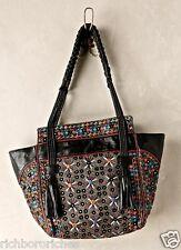 NEW Anthropologie Antik Batik black Achala Satchel Shoulder Tote Bag