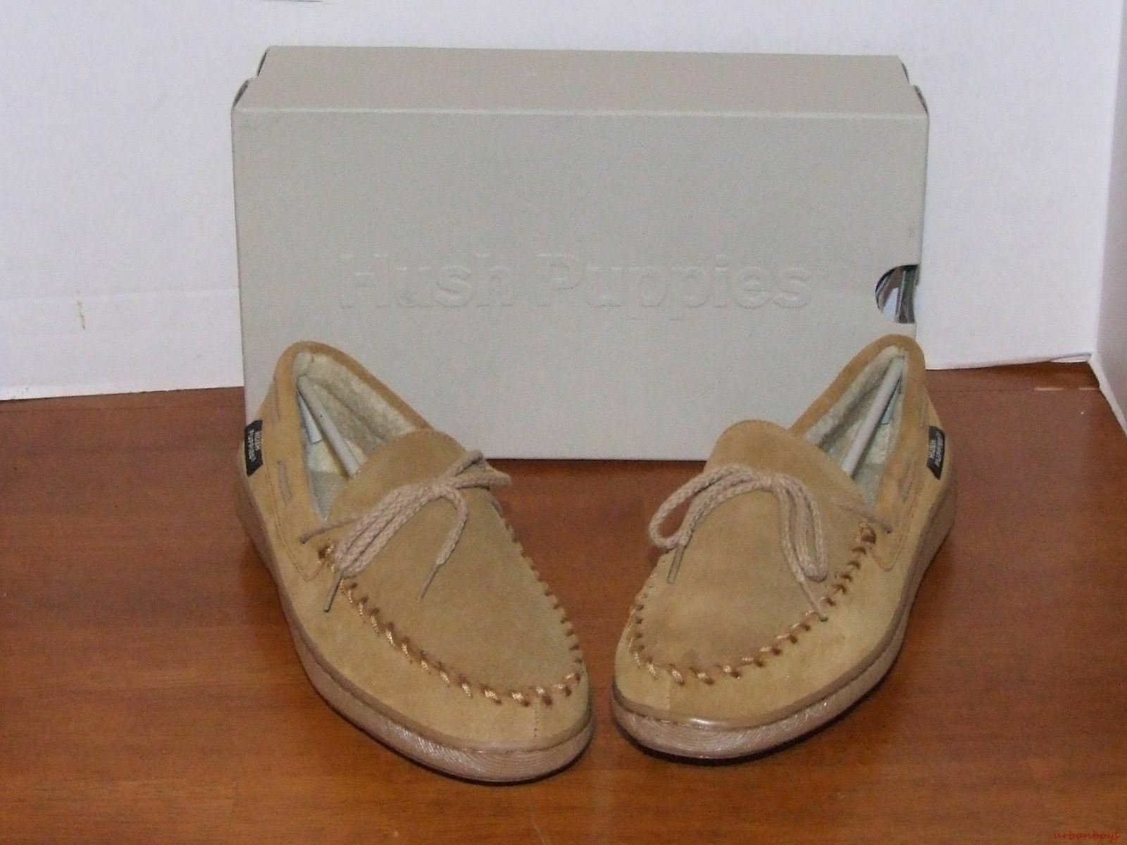 Hush Puppies Huron Camel or Navy Leather Slippers