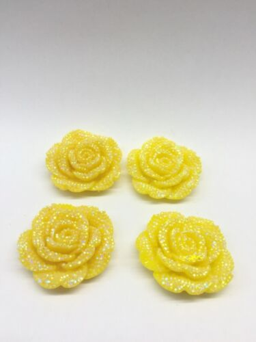 MajorCrafts® 3pcs Yellow AB 42mm Flat Back Rhinestone Rose Flower Cabochons C6