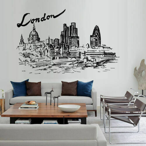 Wall Decal Sticker Skyline Town City London inscription Town Buildings M1567
