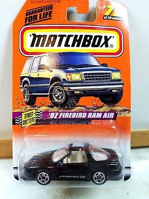 Matchbox '97 Pontiac Firebird Ram Air Black Street Cruisers 1998 #72 Formula V8 Diecast & Toy Vehicles
