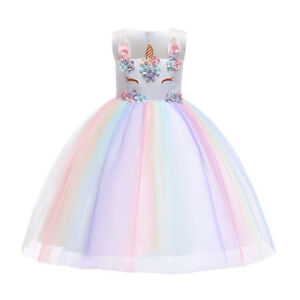 3a9313b4e591a Details about Unicorn Princess Costume for Girls Birthday Party Tutu Dress  up Carnival Clothes