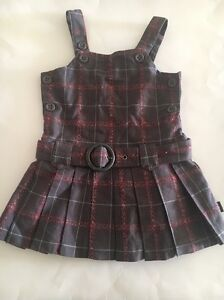 Pumpkin-Patch-Pleated-Brown-Plaid-Drop-Waist-Belted-Dress-Size-3T