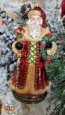 Santa Septer Pointsettia Wreath Glass Christmas Tree Ornament Poland 020068