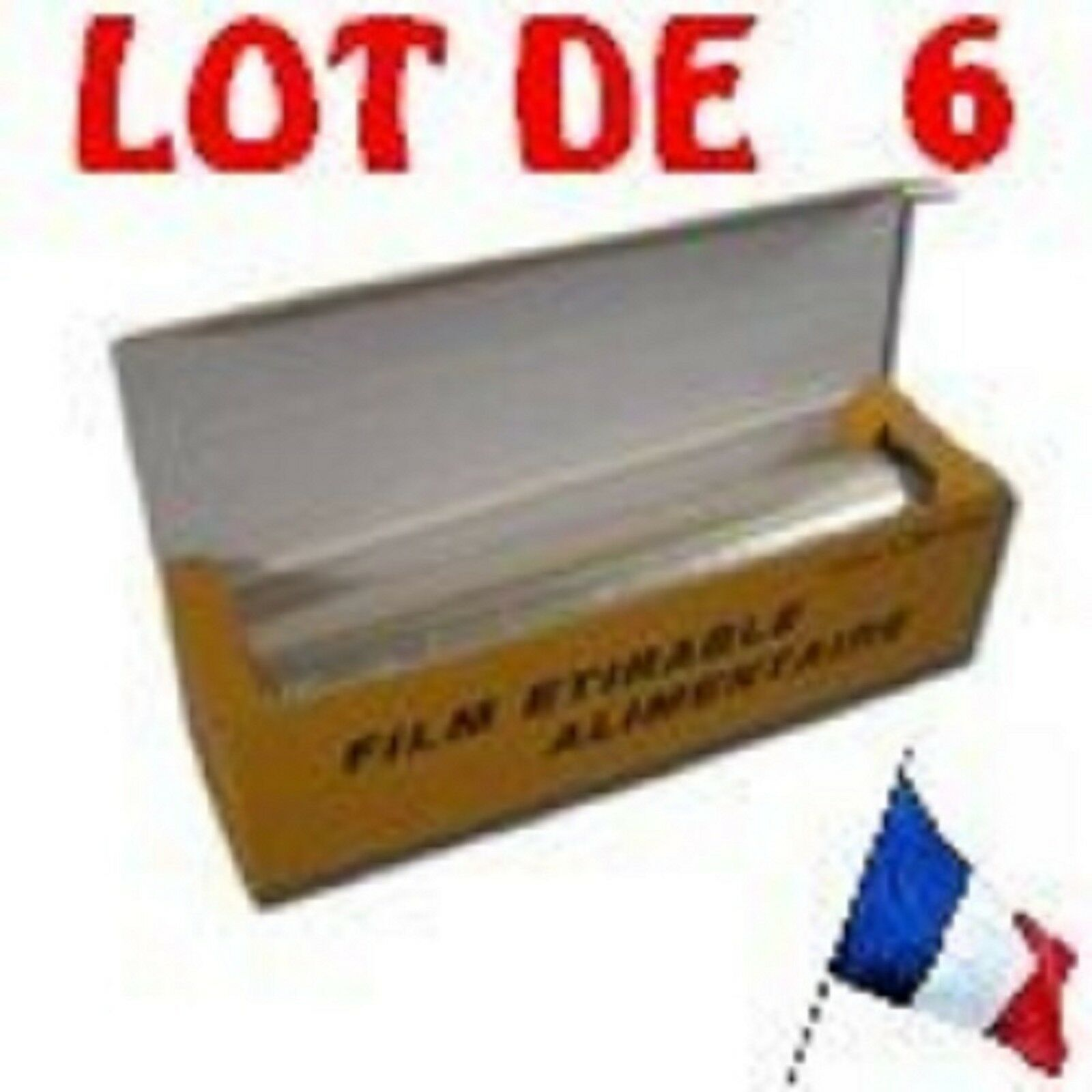 LOT DE 6 FILM ETIRABLE TRANSPARENT alimentaire LARGEUR 45 CM  L 300 METRES