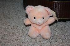 "Rare HTF New Vtg? Russ CARESS SOFT PET Pink Bear Plaid Ears Stuffed Plush 6"" #L2"