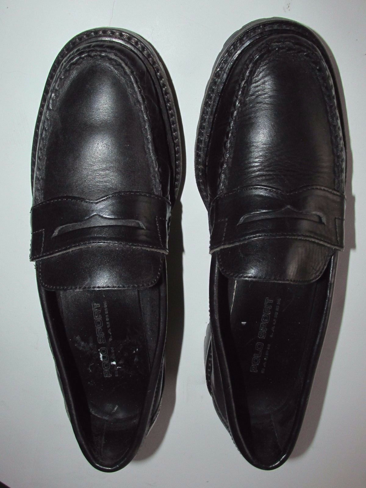 Polo Sport Ralph Lauren Black Classic Penny Loafer Slip On shoes Women's 7M