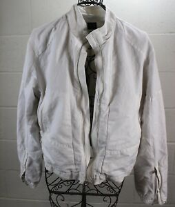 ARMANI-EXHANGE-A-X-White-Cotton-Linen-Zipper-Light-Casual-Men-039-s-Jacket-Large