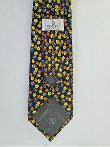 OLIVER-by-VALENTINO-Cravatta-Vintage-100-Silk-60-034-Floral-Necktie-Made-in-Italy