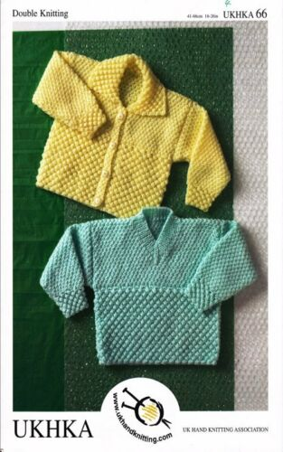 Baby DK Childrens V Neck or Collar Cardigan Double Knitting Pattern UKHKA 66
