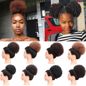 Details About Short Updo Chignon Afro Ponytail Puff Drawstring Wrap Curly Hair Bun Extensions