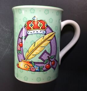Mary-Engelbreit-Mug-Q-Crown-and-Quill-Green-Coffee-Tea-Cup-Rare-2003-Unused