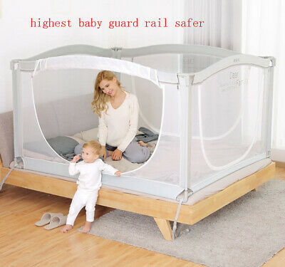 Baby Baby Safety & Health Baby Bed Fence Safety Gate Child Barrier Bed Crib Rail Security Fencing 117cm H Activating Blood Circulation And Strengthening Sinews And Bones
