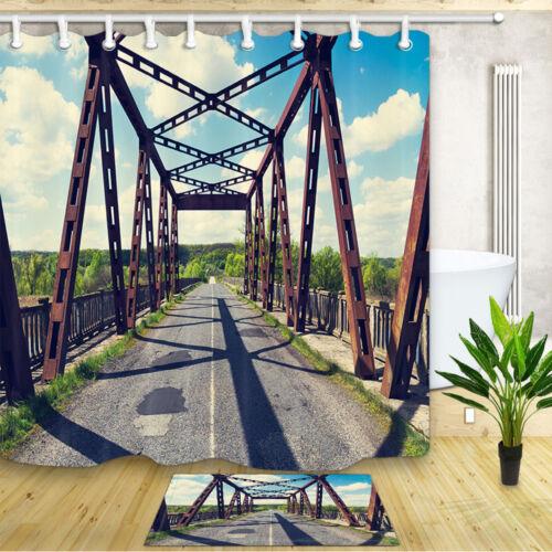 Old car bridge over the river Shower Curtain Bathroom Decor Fabric 71in /&12hooks