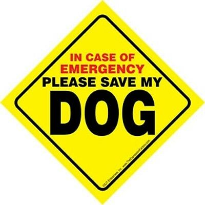Pet Emergency Waterproof Signs with Suction Cup SAVE MY Dog - Dogs - Cat - Cats