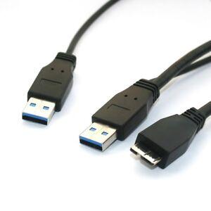 60cm-USB-3-0-Y-Kabel-Micro-B-Stecker-Dualpower-externe-Festplatte-HDD-Superspeed