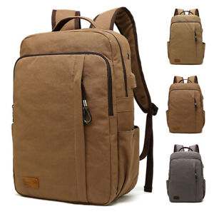 Men-039-s-Travel-Canvas-Backpack-USB-Charging-Rucksack-Hiking-Laptop-School-Bag