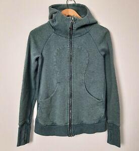 Lululemon Womens Size 4 Deep Green Light Cotton Fleece Scuba Hoodie Jacket