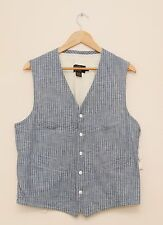 NEW Ralph Lauren RRL DOUBLE RL Cotton Blue Striped Summer Vest XS