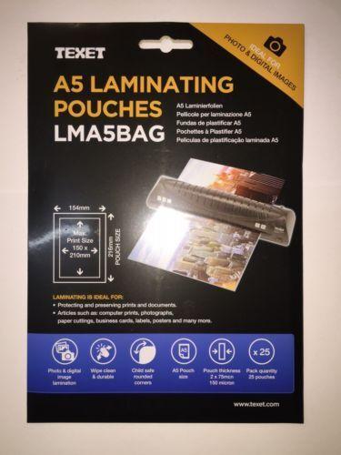 TexetA5 LAMINATING POUCHES Laminator SheetsPack of 25 Pockets 150 MCN LMA5
