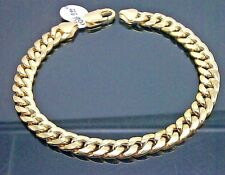 "10K Miami Cuban Yellow Gold Bracelet 6mm 9"" inch Mens lobster , Rope Franco Link"