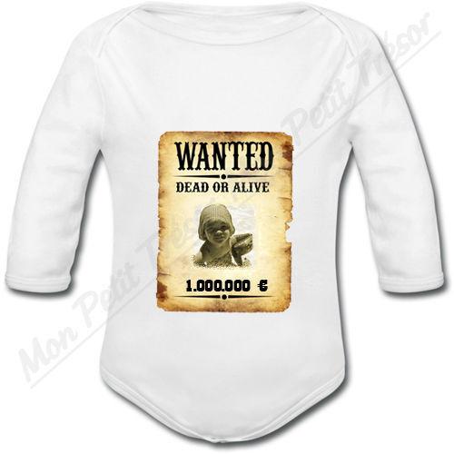 Body Bébé Affiche Wanted Western avec photo personnalisée naissance mixte