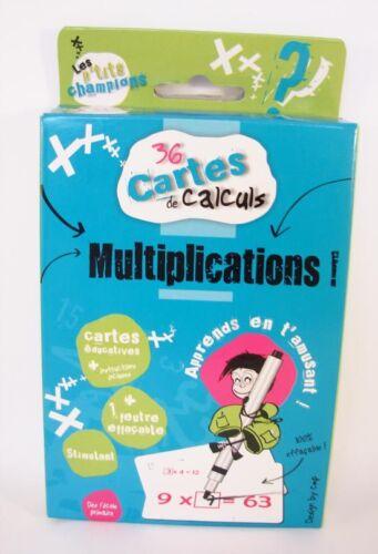 36 Cartes de Calculs - Les MULTIPLICATIONS + 1 Feutre - Cartes Effaçables