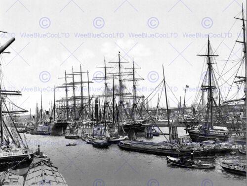 SHIPS AT ASIAKAI HAMBURG GERMANY 1895 OLD BW PHOTO PRINT 12x16 inch POSTER 719BW