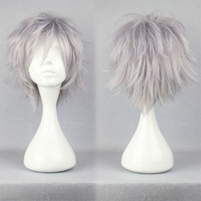 New Ladies Gentlemen Anime Short Wig Black Blue White Cosplay Party Full Wigs #q