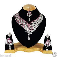 Partywear & Wedding Silver Plated Zerconic Necklace Set Jewelry Earrings Tika