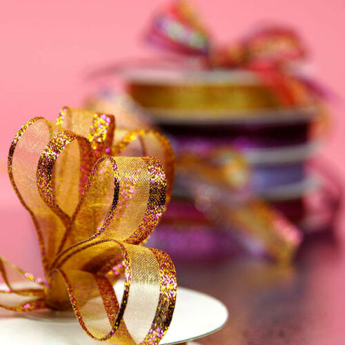 5//8 inch wide gold Sparkle Edge Organza Ribbon price for 2 yard