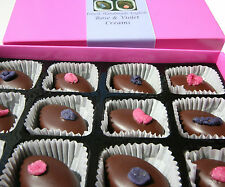 Violet and Rose Creams - rose and violet chocolates gift box - 120g