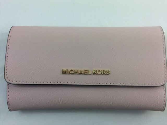 52f5960b83c2 Michael Kors Jet Set Travel Large Trifold Wallet Blossom Fawn Leather Clutch