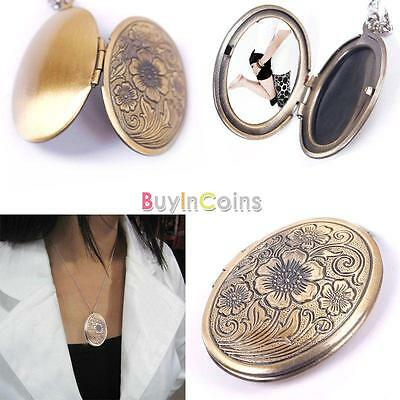 Fashion Silver Bronze Flower Book Photo Locket Style Pendant Chain Necklace Lady