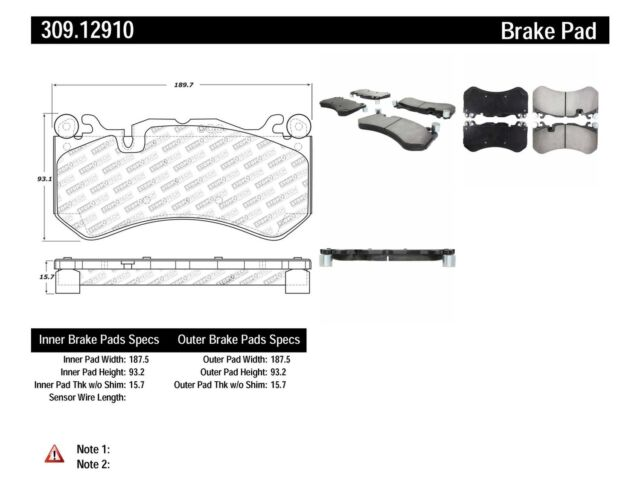 Stoptech 309.12910 High Performance Sport Brake Pads Front Set